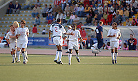 Amaechi Igwe (2) and Ofori Sarkodie (5) celebrate a USA goal. The United States beat Italy 3-1 in the 2005 FIFA World Championship tournament in Peru, September 20, 2005.