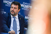 The leader of Lega right party Matteo Salvini attends an electoral campaign press conference for the mayoral election in Spinaceto, a peripheral neighborhood in the west of Rome on October 1st 2021. Photo Andrea Staccioli Insidefoto