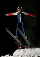 Teodor Ø.Jacobsen (9) ski jumping in Schrøderbakken, near the center of Oslo.