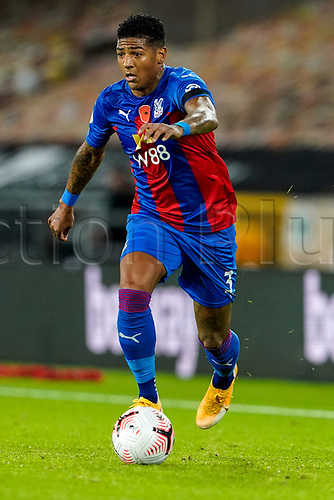 30th October 2020; Molineux Stadium, Wolverhampton, West Midlands, England; English Premier League Football, Wolverhampton Wanderers versus Crystal Palace; Patrick van Aanholt of Crystal Palace brings the ball forward