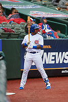 South Bend Cubs Nelson Velazquez (13) on deck during a Midwest League game against the Cedar Rapids Kernels at Four Winds Field on May 8, 2019 in South Bend, Indiana. South Bend defeated Cedar Rapids 2-1. (Zachary Lucy/Four Seam Images)