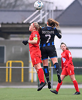 Jana Simons (8) of Woluwe pictured in a duel with Elle Decorte (7) of Club Brugge during a female soccer game between Club Brugge Dames YLA and White Star Woluwe on the 12 th matchday of the 2020 - 2021 season of Belgian Scooore Womens Super League , saturday 30 January 2021  in Brugge , Belgium . PHOTO SPORTPIX.BE | SPP | DAVID CATRY