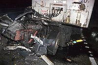 Road Traffic Accident on the motorway involving two heavy goods vehicles. The cab of one of the lorries has been thrown some 100 metres down the motorway..©shoutpictures.com..john@shoutpictures.com