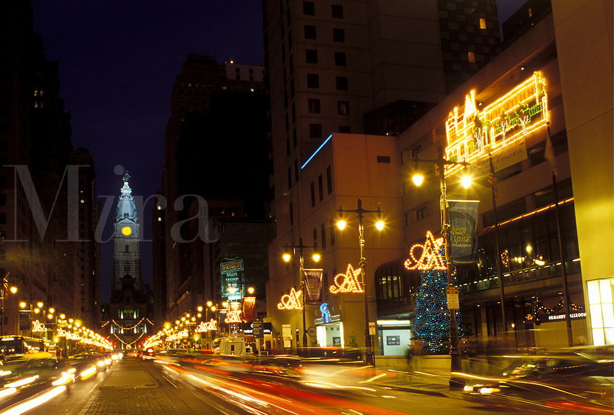 Philadelphia, PA, Pennsylvania, View of City Hall on Broad Street in downtown Philadelphia in the evening.