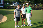 (L-R) Paul Scholes, Suzann Pettersen, Wang Zhiwen during the World Celebrity Pro-Am 2016 Mission Hills China Golf Tournament on 22 October 2016, in Haikou, China. Photo by Marcio Machado / Power Sport Images