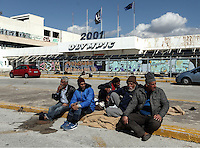 Pictured: Refugees at the Helliniko camp Friday 26 February 2016<br /> Re: Refugees have been turning up at the Helliniko refugee camp in the outskirts of Athens, Greece.
