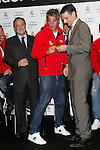 Real Madrid player Fabio Coentrao (c) and the President Florentino Perez participate and receive new Audi during the presentation of Real Madrid's new cars made by Audi at the Jarama racetrack on November 8, 2012 in Madrid, Spain.(ALTERPHOTOS/Harry S. Stamper)