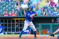 Kevin Kaczmarski (20) of the Las Vegas 51s at bat during a game against the Oklahoma City Dodgers at Chickasaw Bricktown Ballpark on June 17, 2018 in Oklahoma City, Oklahoma. Oklahoma City defeated Las Vegas 5-3  (William Purnell/Four Seam Images)