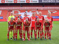 (Back row L to R) goalkeeper Lisa Lichtfus (16) of Standard, Constance Brackman (20) of Standard , Loredana Humartus (33) of Standard, Sylke Calleeuw (9) of Standard, Lisa Petry (21) of Standard, Aster Janssens (5) of Standard (front row L to R) Noemie Gelders (10) of Standard, Charlotte Cranshoff (18) of Standard, Davinia Vanmechelen (25) of Standard, Sylke Calleeuw (9) of Standard  and Gwyneth Vanaenrode (3) of Standard pose for the team photo before a female soccer game between Standard Femina de Liege and AA Gent Ladies on the 6th matchday in play off 1 of the 2020 - 2021 season of Belgian Scooore Womens Super League , tuesday 11 th of May 2021  in Liege , Belgium . PHOTO SPORTPIX.BE   SPP   STIJN AUDOOREN