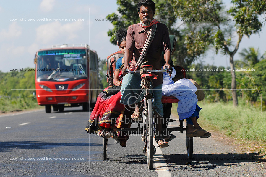 "Asien Suedasien Bangladesh , Rikscha und Bus auf Strasse  -  xagndaz | .South asia Bangladesh , people at bicycle rikshaw and bus on the road - transport .| [ copyright (c) Joerg Boethling / agenda , Veroeffentlichung nur gegen Honorar und Belegexemplar an / publication only with royalties and copy to:  agenda PG   Rothestr. 66   Germany D-22765 Hamburg   ph. ++49 40 391 907 14   e-mail: boethling@agenda-fototext.de   www.agenda-fototext.de   Bank: Hamburger Sparkasse  BLZ 200 505 50  Kto. 1281 120 178   IBAN: DE96 2005 0550 1281 1201 78   BIC: ""HASPDEHH"" ,  WEITERE MOTIVE ZU DIESEM THEMA SIND VORHANDEN!! MORE PICTURES ON THIS SUBJECT AVAILABLE!!  ] [#0,26,121#]"