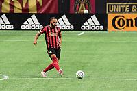 ATLANTA, GA - AUGUST 22: Anton Walkes #4 passes the ball during a game between Nashville SC and Atlanta United FC at Mercedes-Benz Stadium on August 22, 2020 in Atlanta, Georgia.