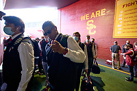 LOS ANGELES, CA - SEPTEMBER 11: The Stanford Cardinal walks to the locker room before a game between University of Southern California and Stanford Football at Los Angeles Memorial Coliseum on September 11, 2021 in Los Angeles, California.