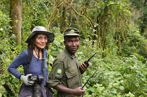 A gorilla trekker and a Uganda Wildlife Authority Guide in Uganda's Bwindi  Impenetrable Forest, one of Africa's rare, remaining gorilla habitats, and a UNESCO World Heritage Site.