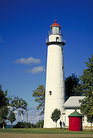 Lighthouse built in 1848 at Point Aux Barques on Lake Huron near Huron City. Huron City Michigan USA Lake Huron.