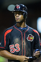 Byron Buxton (53) of the Rochester Red Wings walks back to the dugout at the end of the eight inning of the game against the Charlotte Knights at BB&T BallPark on August 8, 2015 in Charlotte, North Carolina.  The Red Wings defeated the Knights 3-0.  (Brian Westerholt/Four Seam Images)