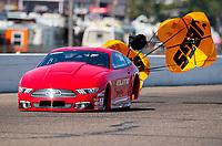 Aug 18, 2019; Brainerd, MN, USA; NHRA pro stock driver Richard Freeman during the Lucas Oil Nationals at Brainerd International Raceway. Mandatory Credit: Mark J. Rebilas-USA TODAY Sports