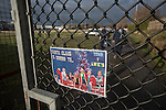 Runcorn Town 1 Runcorn Linnets 0, 26/12/2013. The Pavilions, North West Counties League Premier Division. A poster advertising the Boxing Day derby match between Runcorn Town and visitors Runcorn Linnets at the Pavilions, Runcorn, in a top-of the table North West Counties League premier division match. Runcorn Linnets won 1-0 and overtook their neighbours at the top of the league in a game watched by 803 spectators. Runcorn Linnets were a successor club to Runcorn FC, one of England foremost non-League clubs of the 1970s and 1980s. Photo by Colin McPherson.