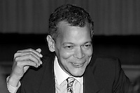 Julian Bond,  civil rights activist, founding member Student Non Violent Coordinating Committee (SNCC), Georgia State Representative and Senator, President of the NAACP spoke at the ACLU Bill of Rights dinner 10.20.90 in Boston Massachusetts