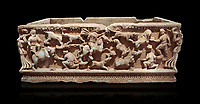 Roman relief sculpted sarcophagus with hunting scene, 2nd century AD, Perge, inv A167. Antalya Archaeology Museum, Turkey. Against a black background.