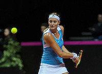 Arena Loire,  Trélazé,  France, 16 April, 2016, Semifinal FedCup, France-Netherlands, Second match: Kristina Mldenovic vs Richel Hogenkamp (NED), Pixtured : Kristina Mladonovic <br />