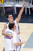 Marko KESELJ (Serbia) and Kosta PEROVIC (Serbia) during the quarter final World championship basketball match against Spain in Istanbul, Serbia-Spain, Turkey on Wednesday, Sep. 08, 2010.(Novak Djurovic/Starsportphoto.com).