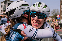 Ellen Van Dijk (NED/Trek-Segafredo) hugging Letizia Paternoster (ITA/Trek-Segafredo) after she finishes 3rd<br /> <br /> 8th Gent-Wevelgem In Flanders Fields 2019 <br /> Elite Womens Race (1.WWT)<br /> <br /> One day race from Ypres (Ieper) to Wevelgem (137km)<br /> ©JojoHarper for Kramon