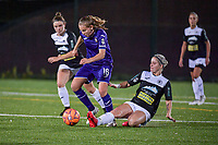 Anderlecht forward Jarne Teulings (16) and Aalst's forward Stephanie Van Gils (27) pictured during a female soccer game between RSC Anderlecht Dames and Eendracht Aalst Ladies  on the fourth matchday of the 2020 - 2021 season of Belgian Womens Super League , Tuesday 13 th of October 2020  in ANDERLECHT , Belgium . PHOTO SPORTPIX.BE | SPP | STIJN AUDOOREN