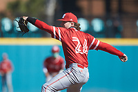 Miami Redhawks relief pitcher Lawson Blackmore (24) in action against the Connecticut Huskies at Springs Brooks Stadium on March 5, 2021 in Conway, South Carolina. The Huskies defeated the Redhawks 5-0. (Brian Westerholt/Four Seam Images)