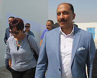 Mohamed abou, a candidate for Tunisia's presidential elections, smiles after casting his ballot at a polling station in the capital Tunis on September 15, 2019. - Rarely has the outcome of an election been so uncertain in Tunisia, the cradle and partial success story of the Arab Spring, as some seven million voters head to the polls today to choose from a crowded field.<br /> <br /> PHOTO : Agence Quebec Presse -  JDIDI_WASSIM