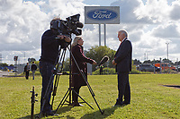 Pictured: Former First Minister for Wales Carwyn Jones (R) is interviewed by a tv crew outside the Ford engine plant in Bridgend, Wales, UK. Thursday 06 June 2019<br /> Re: An announcement on the proposed closure of Ford's Bridgend plant will be made today (Thursday).<br /> Ford Europe and bosses from the United States will meet union leaders at its Essex headquarters.<br /> The plant employs 1,700 workers from across south Wales.