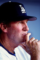Los Angeles Dodgers Coach Charlie Hough participates in a Major League Baseball game at Dodger Stadium during the 1998 season in Los Angeles, California. (Larry Goren/Four Seam Images)