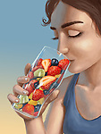 Illustrative image of woman holding a glass filled with fresh fruits representing healthy lifestyle