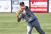Quad Cities River Bandits pitcher Brett Adcock (35) during a Midwest League game against the Wisconsin Timber Rattlers on April 8, 2017 at Fox Cities Stadium in Appleton, Wisconsin.  Wisconsin defeated Quad Cities 3-2. (Brad Krause/Four Seam Images)