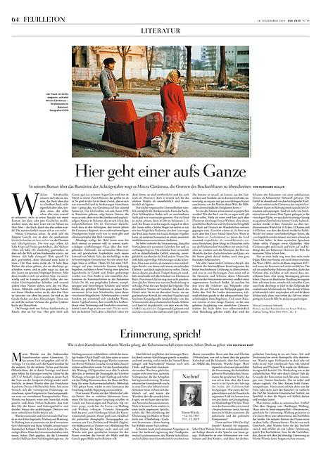 Die Zeit (German weekly) on new Romanian literature, everyday-life under Ceausescu, 12.2019.<br /> Photo: Andrei Pandele