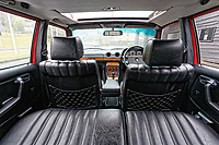 Interior view of the Mercedes W123 series 230TE estate version, outside the Penderyn Whisky Distillery in south Wales, UK. Tuesday 19 June 2018