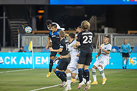 SAN JOSE, CA - SEPTEMBER 19: Jeremy Ebobisse #17 of the Portland Timbersbattles for the ball with Nick Lima #24 of the San Jose Earthquakes during a game between Portland Timbers and San Jose Earthquakes at Earthquakes Stadium on September 19, 2020 in San Jose, California.