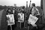 Right to Work March, Hyde Park London 1976. Woman selling copies of the Morning Star.
