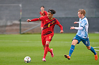 Noah Mawete Kinsiona (6) of Belgium pictured in action with Oliver Kvendbo Holden (8) of Norway during a soccer game between the national teams Under17 Youth teams of  Norway and Belgium on day 3 in the Qualifying round in group 3 on Tuesday 12 th of October 2020  in Tubize , Belgium . PHOTO SPORTPIX   DAVID CATRY
