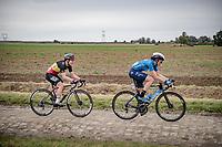 Aude Biannic (FRA/Movistar) & Lotte Kopecky (BEL/Liv Racing)<br /> <br /> Inaugural Paris-Roubaix Femmes 2021 (1.WWT)<br /> One day race from Denain to Roubaix (FRA)(116.4km)<br /> <br /> ©kramon