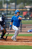 GCL Blue Jays pinch hitter Reese McGuire (35) follows through on a swing during the first game of a doubleheader against the GCL Yankees East on July 24, 2017 at the Yankees Minor League Complex in Tampa, Florida.  GCL Blue Jays defeated the GCL Yankees East 6-3 in a game that originally started on July 8th.  (Mike Janes/Four Seam Images)