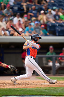 Las Calaveras de West Michigan Daniel Cabrera (5) bats during a game against the Fort Wayne TinCaps on August 22, 2021 at LMCU Ballpark in Comstock Park, Michigan.  (Mike Janes/Four Seam Images)