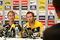 MELBOURNE, AUSTRALIA - MAY 23, 2010: Qantas Socceroos Pre-match press conference at Park Hyatt Hotel, 23 May, 2009 in Melbourne, Australia. Photo Sydney Low www.syd-low.com