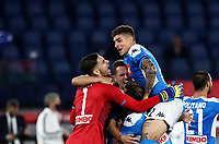 Napoli's Arkadiusz Milik, center, celebrates with his teammates after scoring the decisive penalty during the shootout of the Italian Cup football final match between Napoli and Juventus at Rome's Olympic stadium, June 17, 2020. Napoli won 4-2 at the end of a penalty shootout following a scoreless draw.<br /> UPDATE IMAGES PRESS/Isabella Bonotto