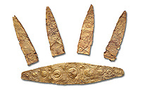 Gold Mycenaean diadem with leaf shaped plates from Grave I, Grave Circle A, Myenae, Greece. National Archaeological Museum Athens. Cat No 184, 185. 16th century BC.  White Background.