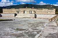 Mitla, Oaxaca, Mexico.  The Palace.  Zapotec Geometric Designs and Symbols Decorate the Construction of the Palace and the Courtyards.