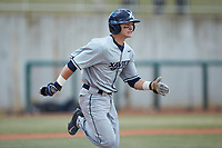 Nate Soria (5) of the Xavier Musketeers hustles down the first base line against the Penn State Nittany Lions at Coleman Field at the USA Baseball National Training Center on February 25, 2017 in Cary, North Carolina. The Musketeers defeated the Nittany Lions 10-4 in game one of a double header. (Brian Westerholt/Four Seam Images)