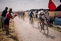 Warren Barguil (FRA/Fortuneo-Samsic) on pavé sector #6<br /> <br /> Stage 9: Arras Citadelle > Roubaix (154km)<br /> <br /> 105th Tour de France 2018<br /> ©kramon
