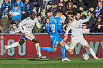 Ferland Mendy (L) and Francisco Alarcon 'Isco' (R) of Real Madrid and Mauro Arambarri of Getafe FC during La Liga match between Getafe CF and Real Madrid at Coliseum Alfonso Perez in Getafe, Spain. January 04, 2020. (ALTERPHOTOS/A. Perez Meca)