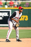 June 15th 2008:  Shortstop Justin Jackson of the Lansing Lugnuts, Class-A affiliate of the Toronto Blue Jays, during a game at Dow Diamond in Midland, MI.  Photo by:  Mike Janes/Four Seam Images