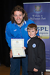 St Johnstone FC Youth Academy Presentation Night at Perth Concert Hall..21.04.14<br /> Stevie May presents to Kayden Alexander<br /> Picture by Graeme Hart.<br /> Copyright Perthshire Picture Agency<br /> Tel: 01738 623350  Mobile: 07990 594431